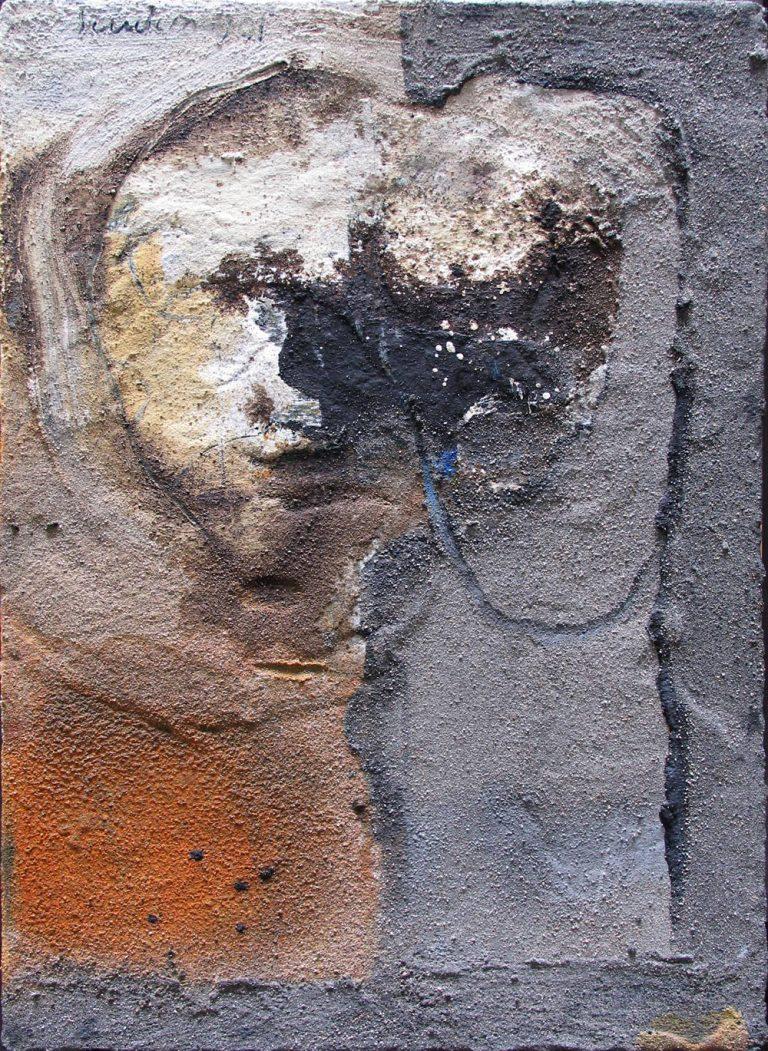 Izudin Porovic zwei Köpfe 2001 45 x 60 cm Mischtechnik auf Hartfaser